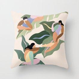 Girls on plants Throw Pillow