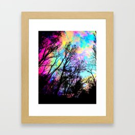 Black Trees Colorful space. Framed Art Print