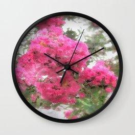 Crape Myrtle Watercolor Wall Clock