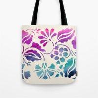 vintage floral Tote Bags featuring Vintage Floral by Jacqueline Maldonado