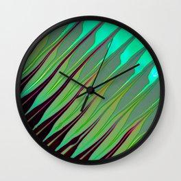 Green Stripes Wall Clock