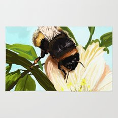 Bee on flower 4 Rug
