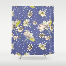 Summer  Daisies with purple and polkadots Shower Curtain