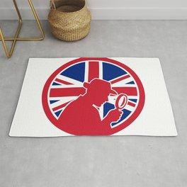British Private Investigator Union Jack Flag Icon Rug