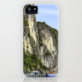 Colorful Floating Village with House Boats at the Base of Several Limestone Mountains in Halong Bay, Vietnam iPhone Case
