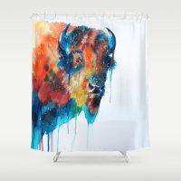bison Shower Curtains featuring Bison by Slaveika Aladjova