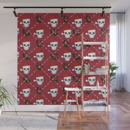 Skull Christmas pattern Wall Mural