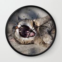 CAT - YAWNING - PHOTOGRAPHY - ANIMALS - CATS Wall Clock