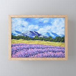 Fields of Lavender by Mike Kraus - provence france french landscape mountains clouds sky flowers Framed Mini Art Print