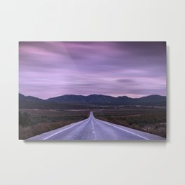 """At the end of the road"" Purple sunset Metal Print"