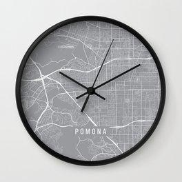 Pomona Map, California USA - Pewter Wall Clock