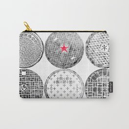 Manhole Cover Ink Print Complilation Carry-All Pouch