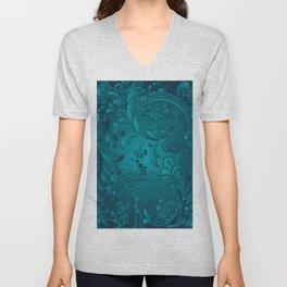 Metallic Teal Floral Pattern Unisex V-Neck
