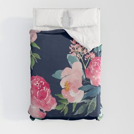 Navy and Pink Watercolor Peony Duvet Cover