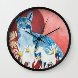 Blue fox and his hunters Wall Clock