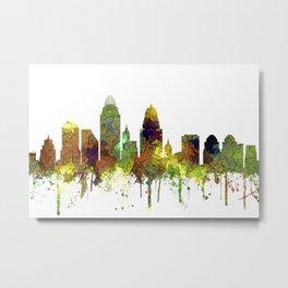 Cincinnati, Ohio Skyline SG- Safari Buff Metal Print