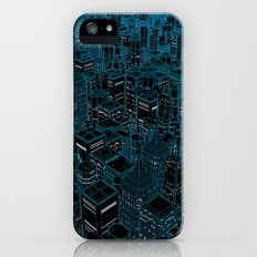 Night light city / Lineart city in blue iPhone (5, 5s) Slim Case