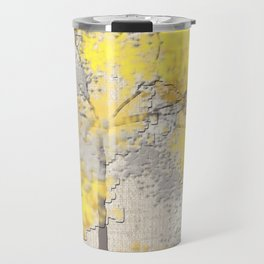 Abstract Yellow and Gray Trees Travel Mug