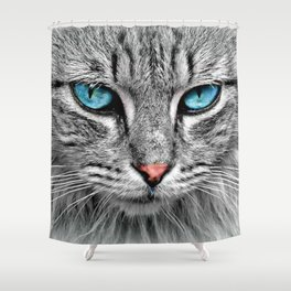 Blue Cat Eyes You Can Never Forget Shower Curtain