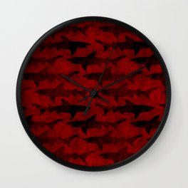 Blood Red Sharks Wall Clock