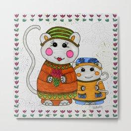 Mama & Baby Mouse Metal Print