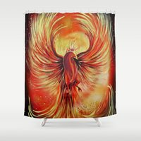phoenix Shower Curtains featuring Phoenix by Adamzworld