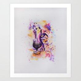 Bright Colorful Cheetah Watercolor Painting Art Print