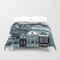 travel poster Duvet Covers featuring Amsterdam Travel Poster by ClaireIllustrations
