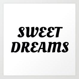 Sweet Dreams in Cursive in Black Art Print