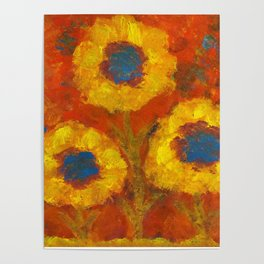 Sunflowers with a golden sun Poster