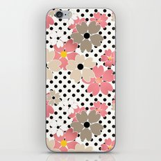 Pink beige flowers on a background of black peas.  iPhone & iPod Skin