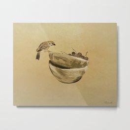 Sparrow And Bowl of Cherries Metal Print