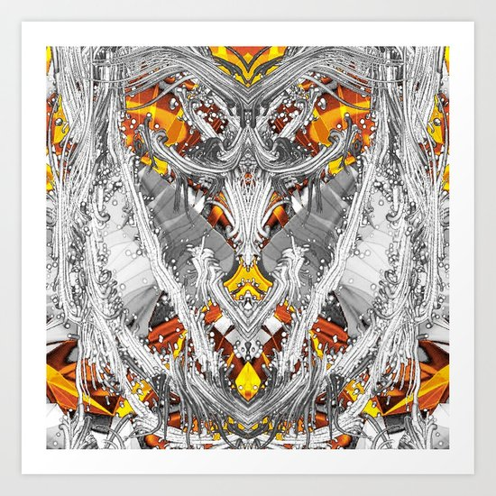 Abstract Flash,silver Art Print