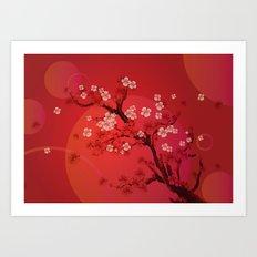 Kirschblütenzweig - Cherry blossom branch Art Print