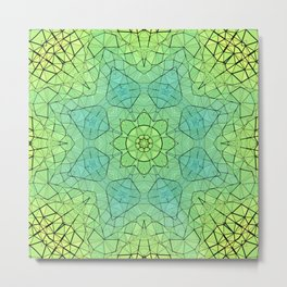 Spring Stained Glass Mandala Metal Print