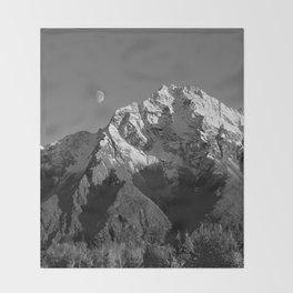 Moon Over Pioneer Peak B&W Throw Blanket