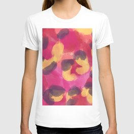 Abstract modern pink yellow brown camo leopard dots pattern T-shirt