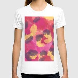 Abstract modern pink yellow brown camo leopard dots pattern T-shirt
