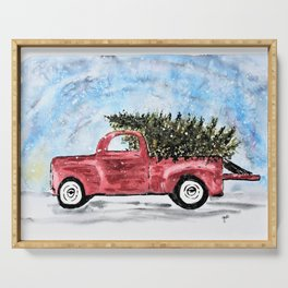 Vintage Red Christmas Truck with Tree Watercolor Serving Tray