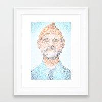 zissou Framed Art Prints featuring The Aquatic Steve Zissou by Robotic Ewe