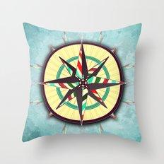 Striped Compass Rose Throw Pillow