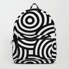 Black Circular Line Art On White Background Backpack