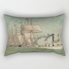 Vintage Fishing Fleet Painting (1882) Rectangular Pillow