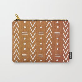 Mudcloth White Geometric Shapes in Ochre Burnt Orange Carry-All Pouch