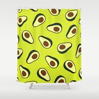 avocado Shower Curtains featuring Avocado Pattern by evannave