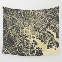 baltimore Wall Tapestries featuring Baltimore map by Map Map Maps