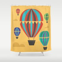hot air balloons Shower Curtains featuring Hot Air Balloons by Marina Design