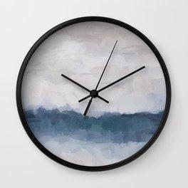 Navy Indigo Blue Water, Lavender Clouds, Beige Sandy Plains Beach, Calm & Relaxing Modern Abstract Painting, Art Print Wall Decor  Wall Clock