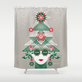 Christmas woman tree Shower Curtain