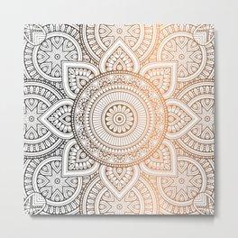 Gold Bronze Mandala Pattern Illustration Metal Print